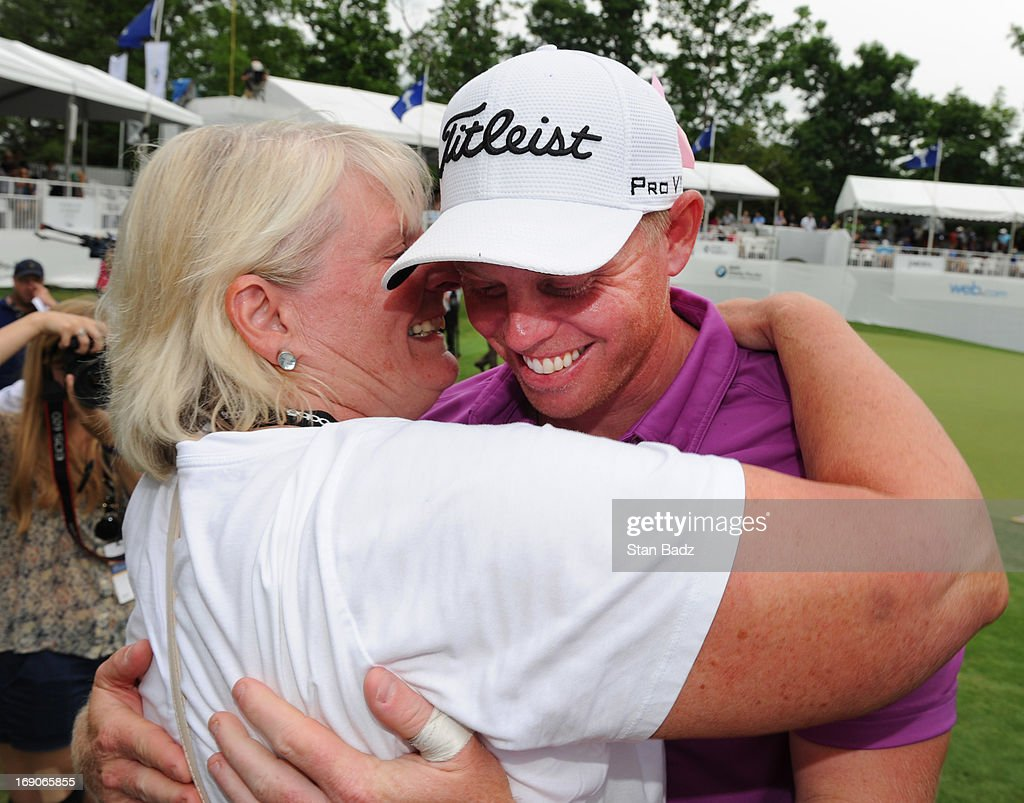 Mark Anderson receives a hug from his mother, Julia Anderson after winning the final round of the BMW Charity Pro-Am Presented by SYNNEX Corporation at the Thornblade Club on May 19, 2013 in Greer, South Carolina.