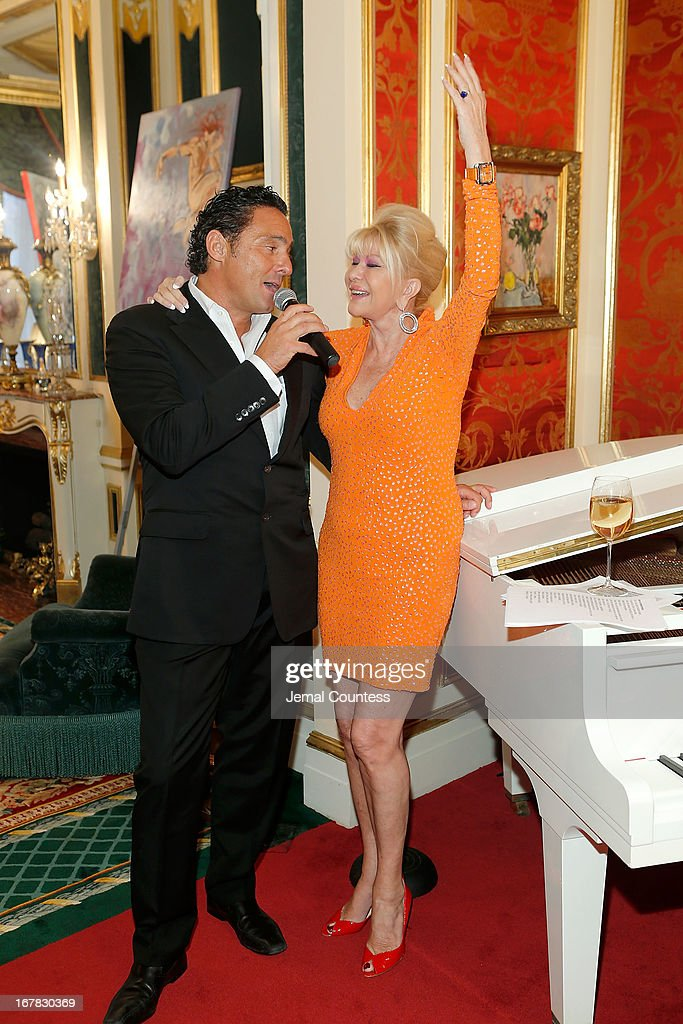 Mark Antonio Rota and Ivana Trump attend the exhibition of artwork featuring Giovanni Perrone and hosted by Ivana Trump and Mark Antonio Rota on April 30, 2013 in New York City.