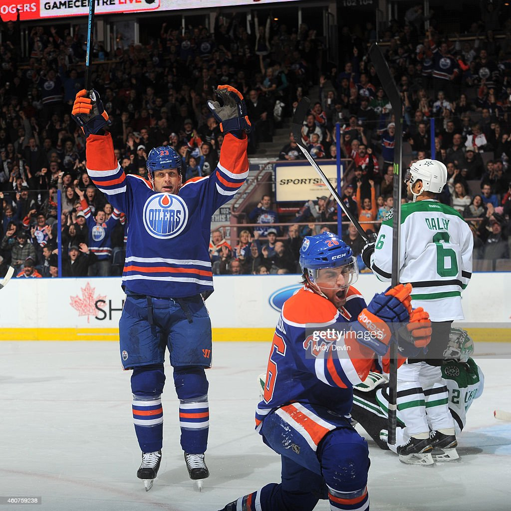 Mark Arcobello and Matt Hendricks of the Edmonton Oilers celebrate after a goal during the game against the Dallas Stars on December 21 2014 at...