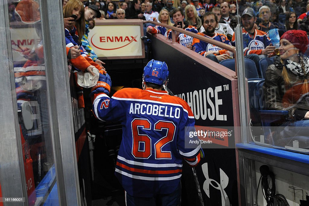 Mark Arcobello #62 of the Edmonton Oilers heads back to the locker room prior to a game against the Dallas Stars on February 6, 2013 at Rexall Place in Edmonton, Alberta, Canada.