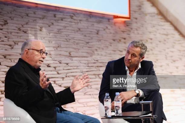 Mark Austin ITN Broadcaster and Bob Hoffman The Ad Contrarian Author Partner Type A Group at the 2014 Spotlight Lecture The Golden Age of Bullsh*t at...