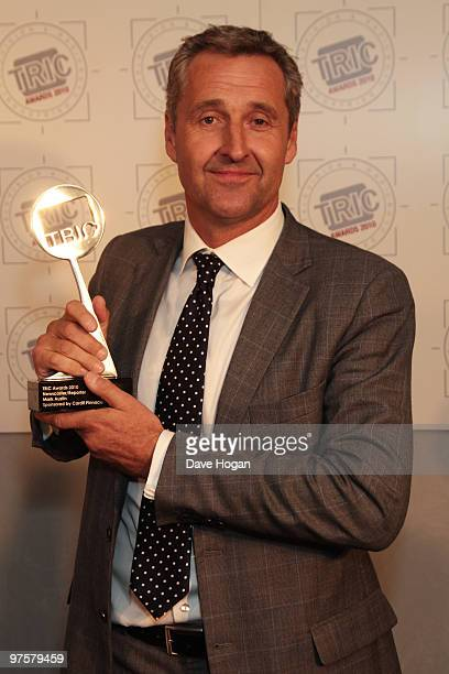 Mark Austin poses with his best newsreader award in the press room at the TRIC Awards 2010 held at The Grosvenor House Hotel on March 9 2010 in...