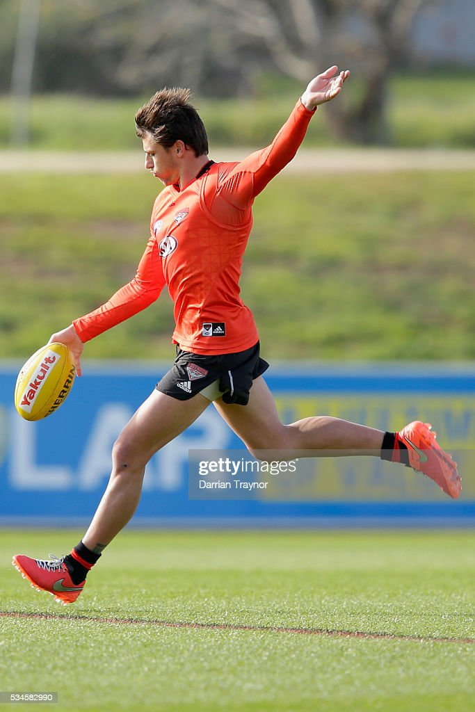 Mark Baguley of the Bombers kicks the ball during an Essendon Bombers AFL training session at True Value Solar Centre on May 27, 2016 in Melbourne, Australia.