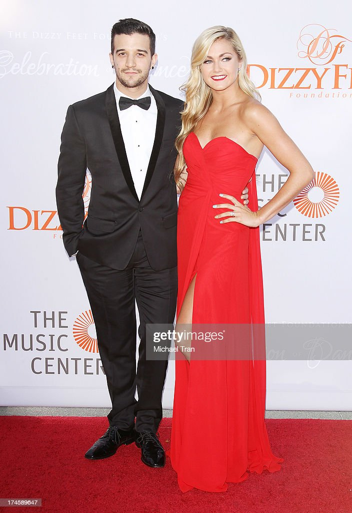 Mark Ballas (L) and Lindsay Arnold arrive at the Dizzy Feet Foundation's 3rd Annual Celebration of Dance Gala held at Dorothy Chandler Pavilion on July 27, 2013 in Los Angeles, California.