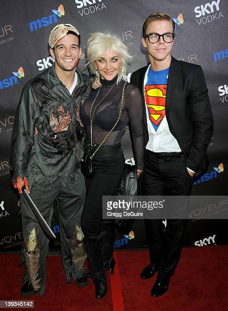 Mark Ballas mom Shirley Ballas and Derek Hough arrive at Heidi Klum's 10th Annual Halloween Party Presented By MSN and Skyy Vodka at Voyeur on...