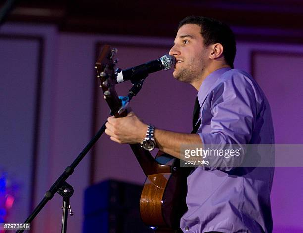 Mark Ballas performs onstage with his band 'The BallasHough Band' on his 23rd Birthday inside the Indy 500 race after party at The Conrad Hotel on...