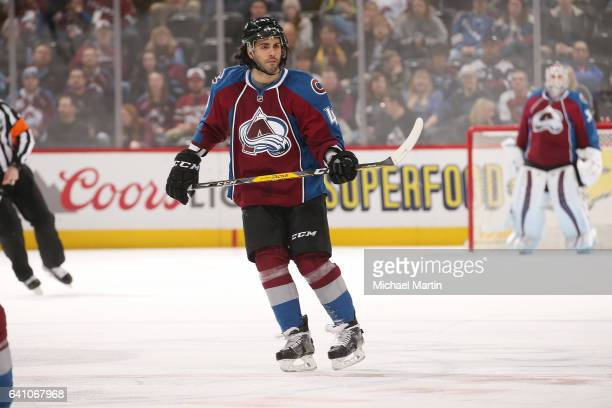 Mark Barberio of the Colorado Avalanche skates against the Winnipeg Jets at the Pepsi Center on February 4 2017 in Denver Colorado