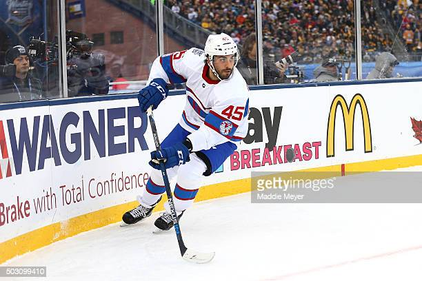 Mark Barberio of the Montreal Canadiens controls the puck in the first period against the Boston Bruins during the 2016 Bridgestone NHL Winter...