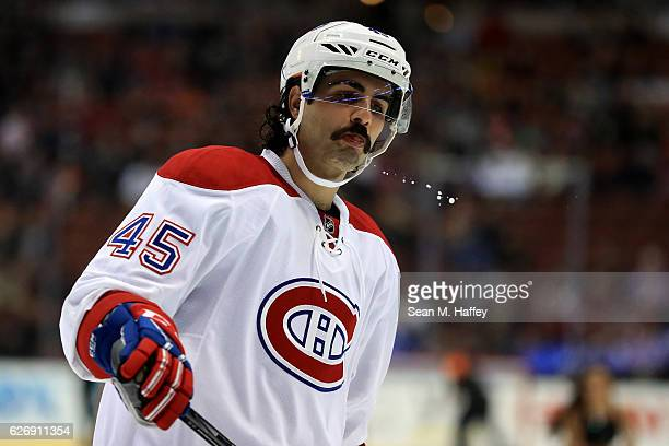 Mark Barberio of the Montreal Canadiens looks on during the first period of a game against the Anaheim Ducks at Honda Center on November 29 2016 in...