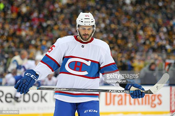 Mark Barberio of the Montreal Canadiens looks on in the first period against the Boston Bruins during the 2016 Bridgestone NHL Winter Classic at...