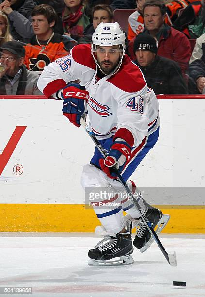 Mark Barberio of the Montreal Canadiens passes the puck against the Philadelphia Flyers on January 5 2016 at the Wells Fargo Center in Philadelphia...