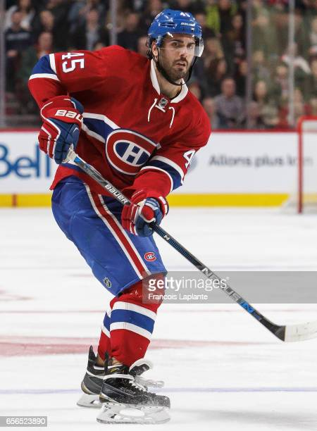 Mark Barberio of the Montreal Canadiens plays in the game against the Minnesota Wild at Bell Centre on March 12 2016 in Montreal Quebec Canada