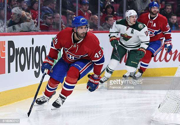 Mark Barberio of the Montreal Canadiens skates against the Minnesota Wild in the NHL game at the Bell Centre on March 12 2016 in Montreal Quebec...