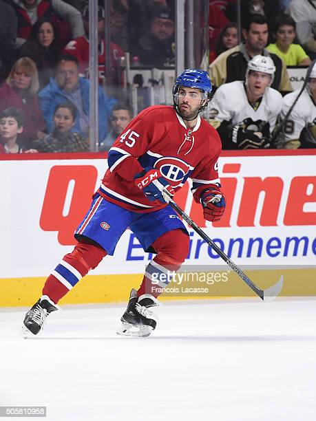 Mark Barberio of the Montreal Canadiens skates against the Pittsburgh Penguins in the NHL game at the Bell Centre on January 9 2016 in Montreal...