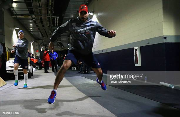 Mark Barberio of the Montreal Canadiens warms up before playing in the 2016 Bridgestone NHL Winter Classic between the Montreal Canadiens and the...