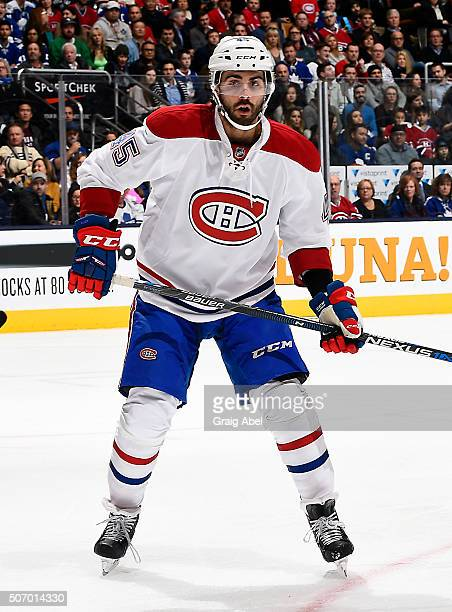 Mark Barberio of the Montreal Canadiens watches the play develop against the Toronto Maple Leafs during game action on January 23 2016 at Air Canada...
