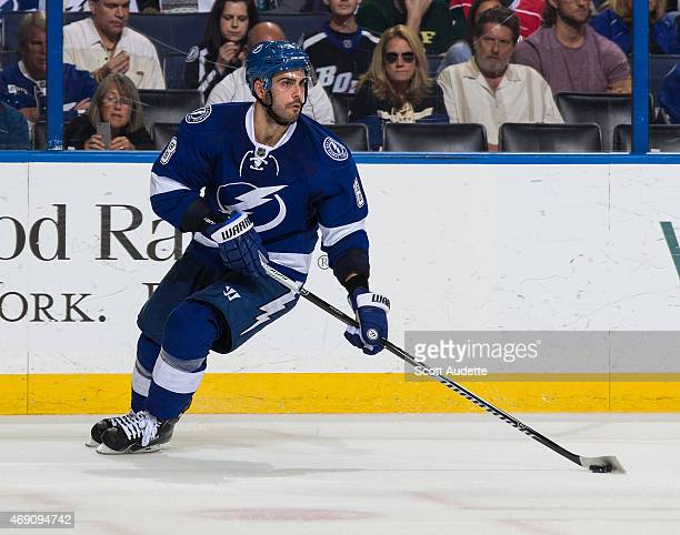 Mark Barberio of the Tampa Bay Lightning against the Florida Panthers during the second period at the Amalie Arena on March 24 2015 in Tampa Florida