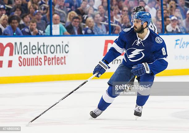 Mark Barberio of the Tampa Bay Lightning against the New York Rangers during the first period in Game Four of the Eastern Conference Final during the...