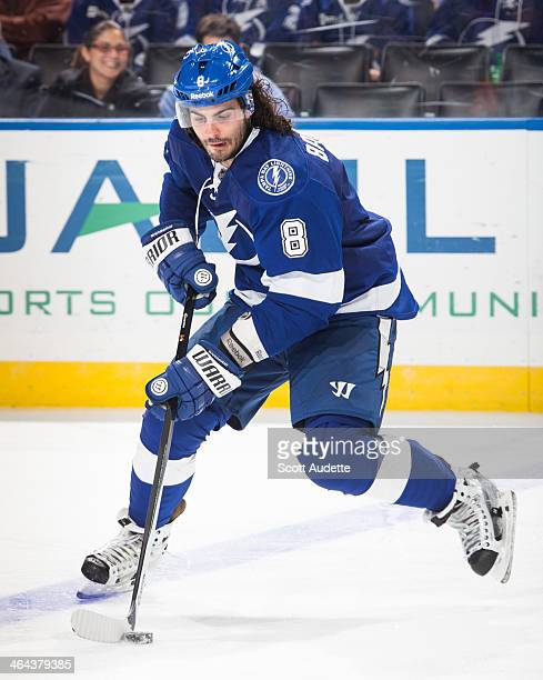 Mark Barberio of the Tampa Bay Lightning shoots against the Washington Capitals at the Tampa Bay Times Forum on January 9 2014 in Tampa Florida
