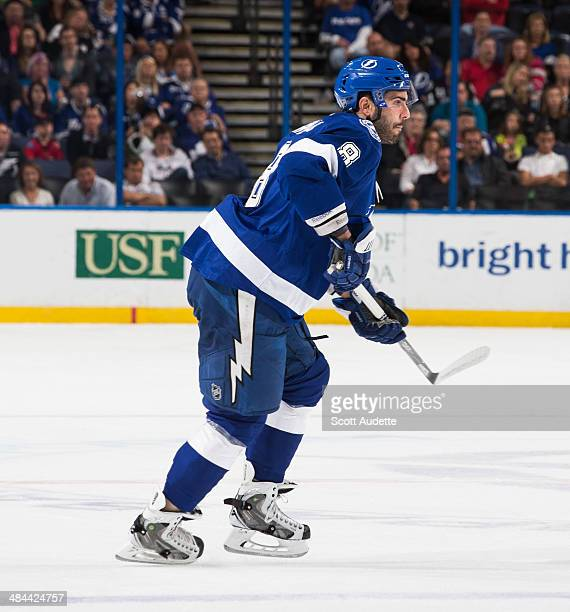 Mark Barberio of the Tampa Bay Lightning skates against the Calgary Flames at the Tampa Bay Times Forum on April 3 2014 in Tampa Florida