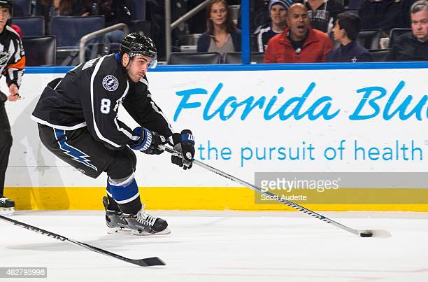 Mark Barberio of the Tampa Bay Lightning skates against the Carolina Hurricanes at the Amalie Arena on December 27 2014 in Tampa Florida
