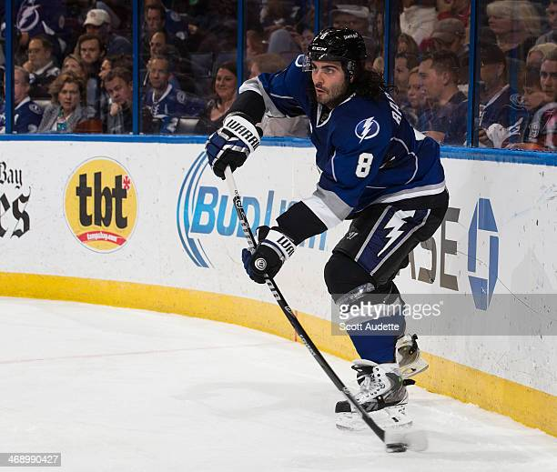 Mark Barberio of the Tampa Bay Lightning skates against the Detroit Red Wings at the Tampa Bay Times Forum on February 8 2014 in Tampa Florida