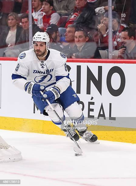 Mark Barberio of the Tampa Bay Lightning skates against the Montreal Canadiens in Game Three of the First Round of the 2014 NHL Stanley Cup Playoffs...
