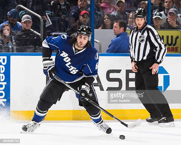 Mark Barberio of the Tampa Bay Lightning skates against the San Jose Sharks at the Tampa Bay Times Forum on January 18 2014 in Tampa Florida