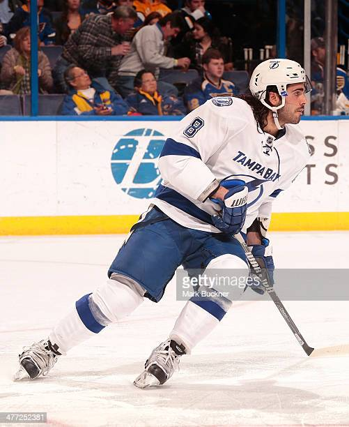 Mark Barberio of the Tampa Bay Lightning skates against the St Louis Blues in an NHL game on March 4 2014 at Scottrade Center in St Louis Missouri