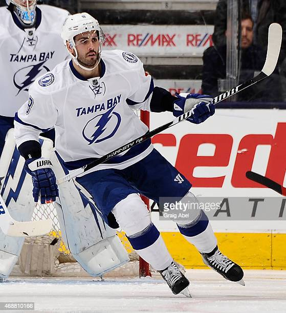 Mark Barberio of the Tampa Bay Lightning skates up the ice during game action against the Toronto Maple Leafs on March 31 2015 at Air Canada Centre...