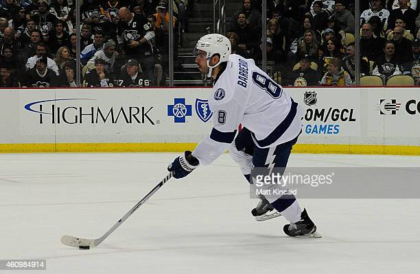 Mark Barberio of the Tampa Bay Lightning skates with the puck against the Pittsburgh Penguins at Consol Energy Center on January 2 2015 in Pittsburgh...