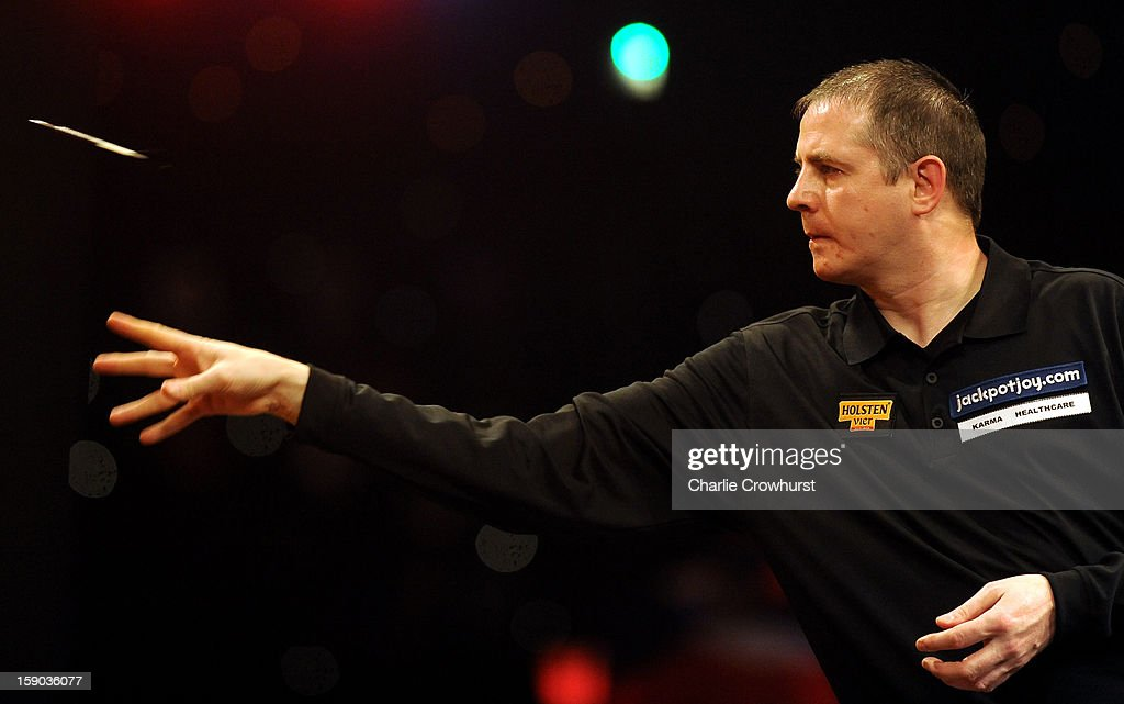 Mark Barilli of Scotland in action during his first round match against Scott Mitchell of England on day two of the BDO Lakeside World Professional Darts Championships at Lakeside Country Club on January 06, 2013 in London, England.