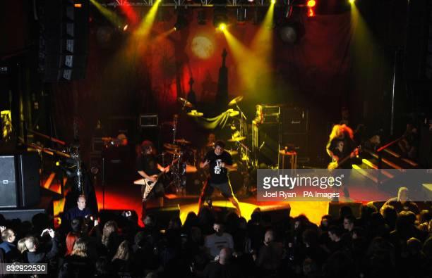 Mark 'Barney' Greenway of Napalm Death performs at KOKO in Camden north London