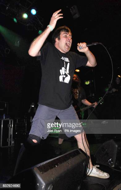 Mark 'Barney' Greenway with Napalm Death performs at KOKO in Camden north London