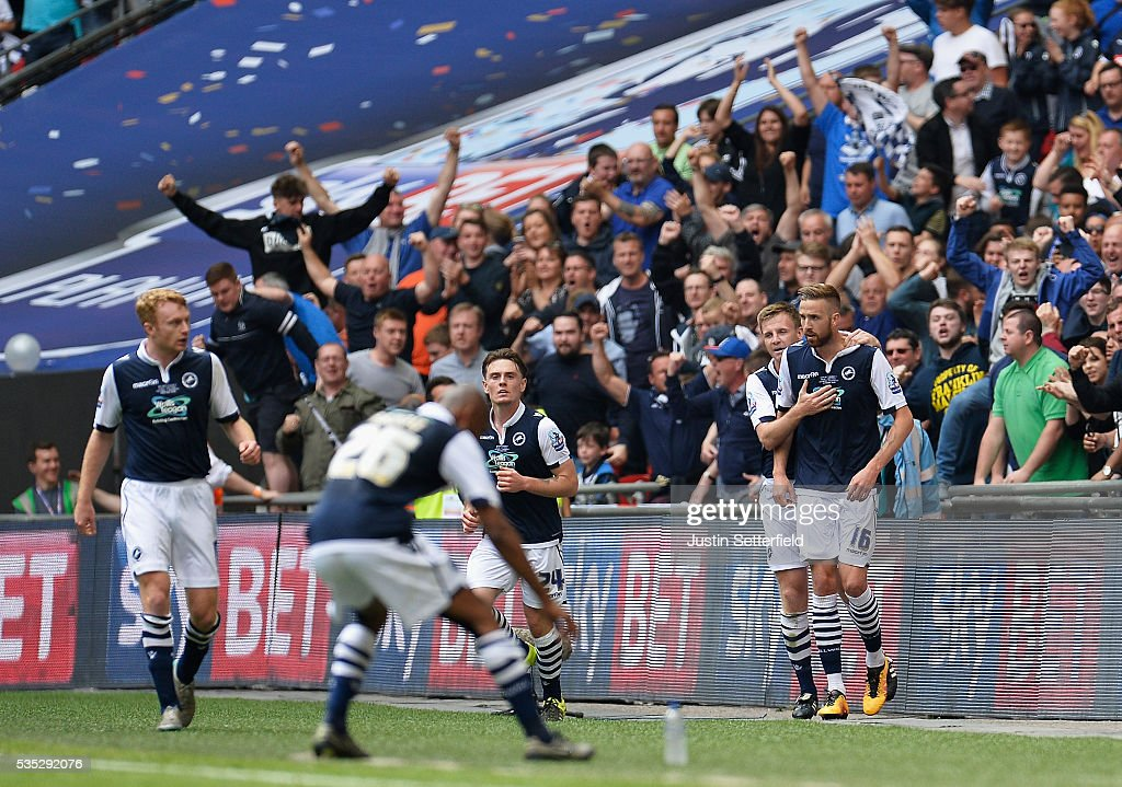 Mark Beevers of Millwall FC celebrates scoring Millwalls first goal during the Sky Bet League One Play Off Final between Barnsley and Millwall at Wembley Stadium on May 29, 2016 in London, England.