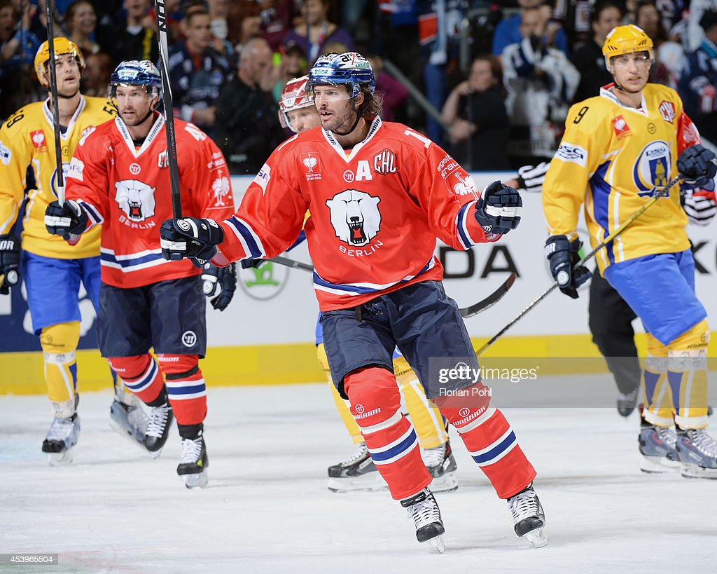 Mark Bell #17 of Eisbären Berlin celebrates after scoring a goal during the Champions Hockey League group stage game between Eisbaeren Berlin and HC Zlin on August 22, 2014 in Berlin, Germany.