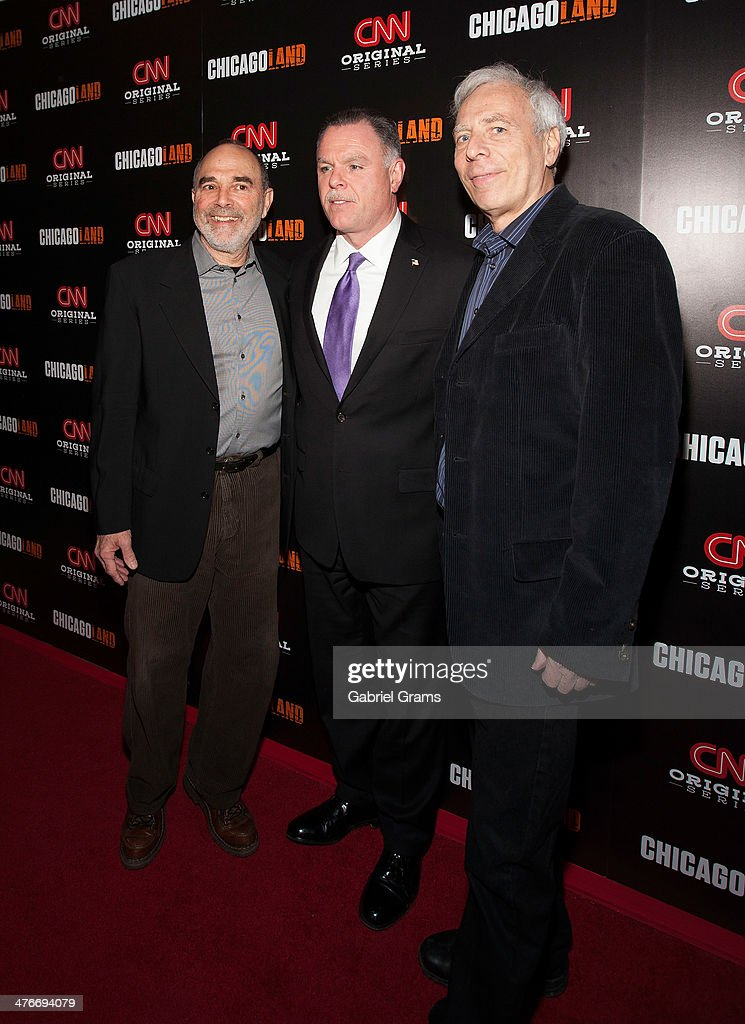 Mark Benjamin, Gary McCarthy and Marc Levin attend the 'Chicagoland' series premiere at Bank of America Theater on March 4, 2014 in Chicago, Illinois.