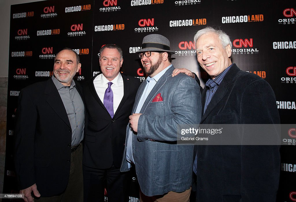 Mark Benjamin, Gary McCarthy, Mark Konkol and Marc Levin attend the 'Chicagoland' series premiere at Bank of America Theater on March 4, 2014 in Chicago, Illinois.