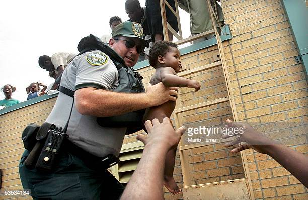 Mark Benton of Louisiana Department of Wildlife and Fisheries helps to rescue three month old Ishmael Sullivan from a school rooftop after he and his...