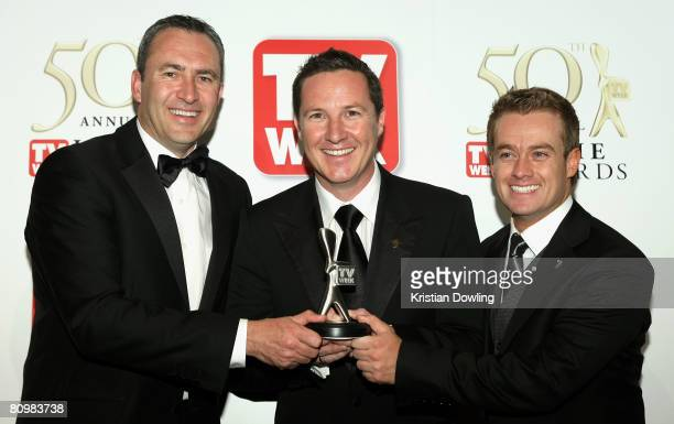 Mark Beretta Matthew White and Grant Denyer pose with the Most Outstanding Coverage Award for The 2008 Bathurst 1000 Coverage backstage in the Media...