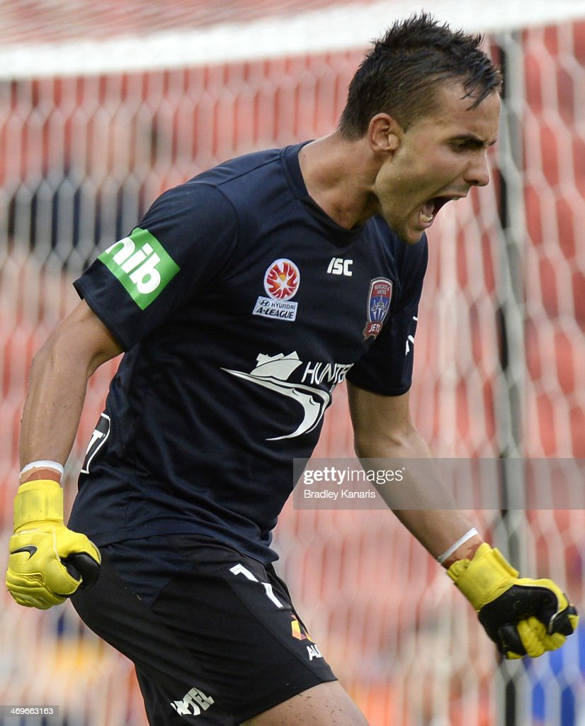 Mark Birighitti of the Jets celebrates victory after the round 19 ALeague match between Brisbane Roar and the Newcastle Jets at Suncorp Stadium on...