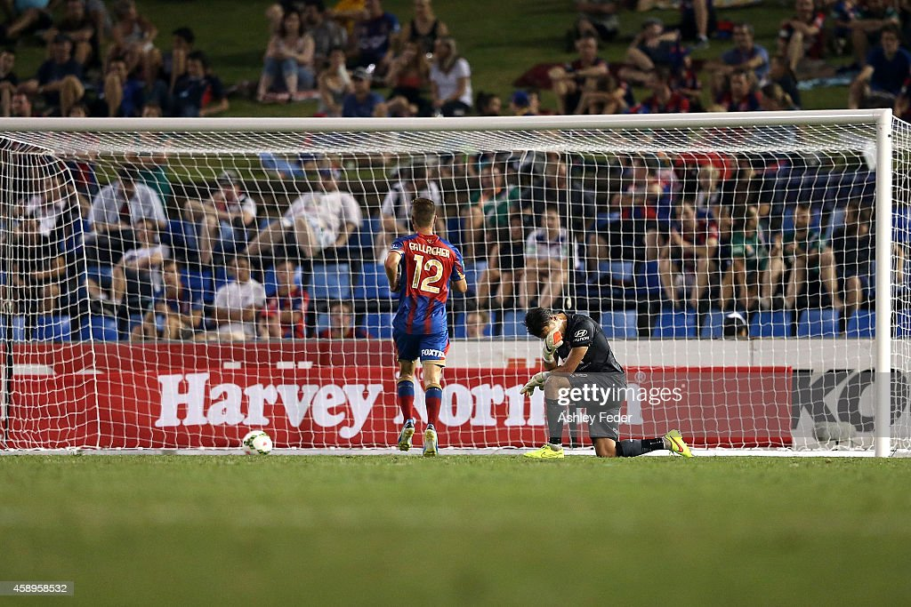 Mark Birighitti of the Jets looks dejected after conceding a goal during the round six A-League match between the Newcastle Jets and Brisbane Roar at Hunter Stadium on November 14, 2014 in Newcastle, Australia.