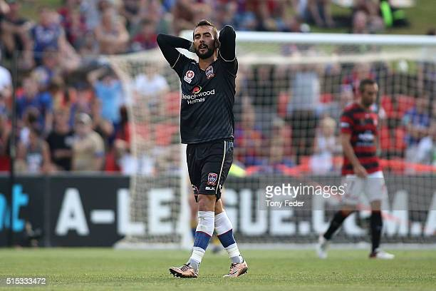 Mark Birighitti of the Jets looks dejected after losing to the Wanderers after the round 23 ALeague match between the Newcastle Jets and the Western...