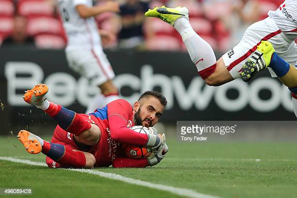 Mark Birighitti of the Jets saves a shot at goal during the round five ALeague match between the Newcastle Jets and the Western Sydney Wanderers at...