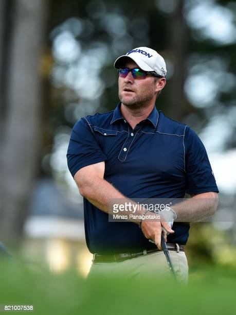 Mark Blakefield hits his tee on the first hole during round three of the Mackenzie Investments Open at Club de Golf Les Quatre Domaines on July 22...
