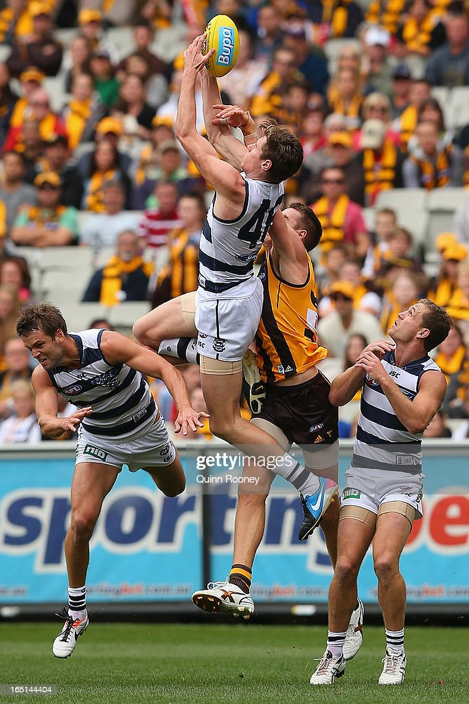 Mark Blicavs of the Cats attempts to mark during the round one AFL match between the Hawthorn Hawks and the Geelong Cats at the Melbourne Cricket Ground on April 1, 2013 in Melbourne, Australia.