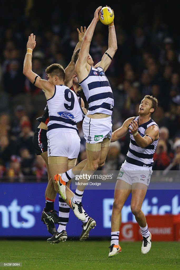 Mark Blicavs of the Cats marks the ball during the round 14 AFL match between the St Kilda Saints and the Geelong Cats at Etihad Stadium on June 25, 2016 in Melbourne, Australia.