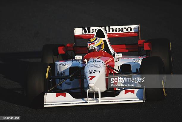 Mark Blundell of Great Britain drives the Marlboro McLaren Mercedes McLaren MP410C Mercedes 30 V10 during practice for the Portuguese Grand Prix on...