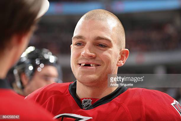 Mark Borowiecki of the Ottawa Senators has a laugh during warmup prior to a game against the Boston Bruins at Canadian Tire Centre on January 9 2016...