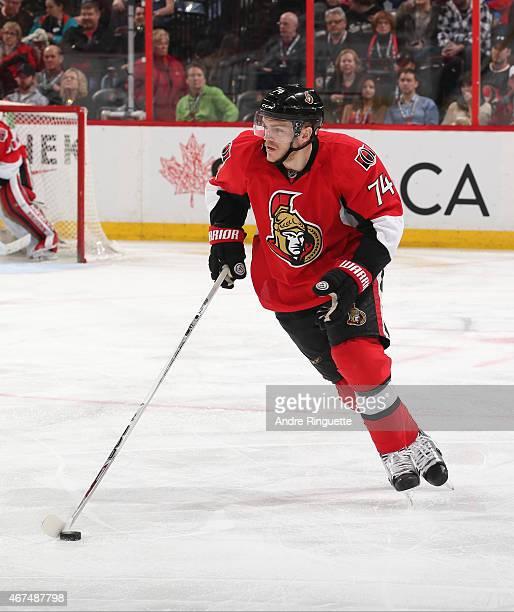 Mark Borowiecki of the Ottawa Senators skates against the Toronto Maple Leafs at Canadian Tire Centre on March 21 2015 in Ottawa Ontario Canada